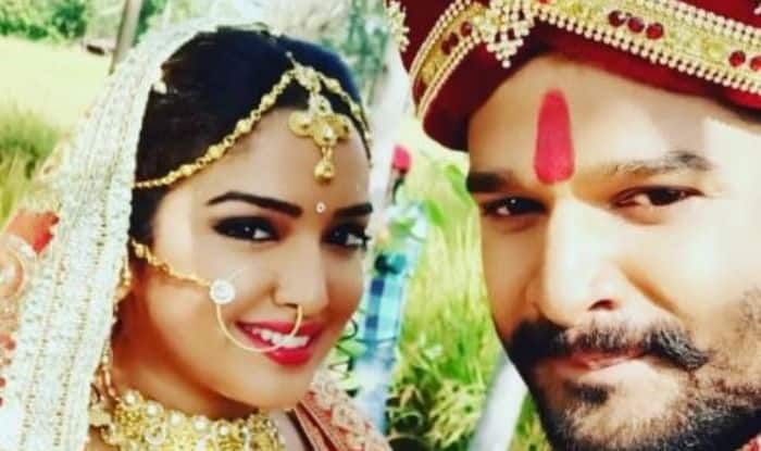 Bhojpuri Bombshell Amrapali Dubey Looks Beautiful as Bride as She Shares a Picture With Saiyyan Thanedaar Co-Star Ritesh Pandey, Check