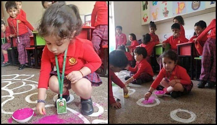 MS Dhoni's Daughter Ziva Making Rangoli at School is The Sweetest Visual This Diwali — PICS