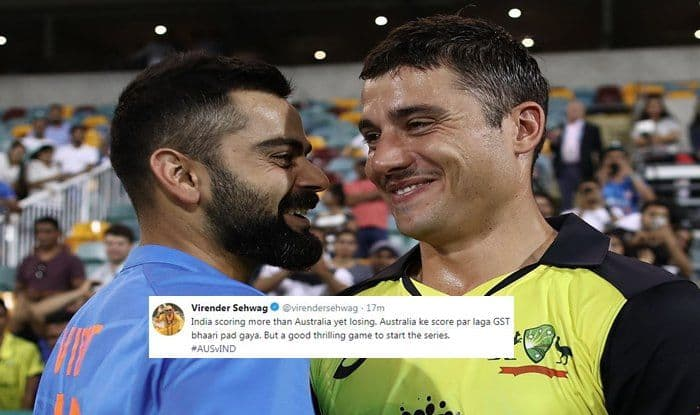 India vs Australia 1st T20I Brisbane: Virender Sehwag's GST Tweet Cracks Netizens After Virat Kohli's Team India Lose Thriller in Gabba
