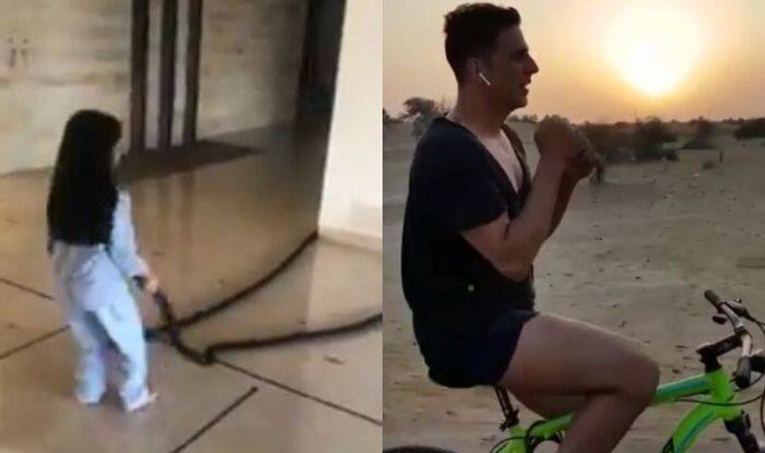 #FitIndia: Akshay Kumar Urges Fans to Stay Fit With Cute Video of Daughter Nitara Doing Battle Rope Exercise