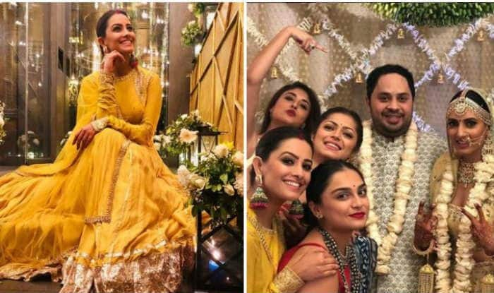 Naagin 3 Fame Anita Hassanandani Looks Hot in Bright Yellow Ethnic Gown as She Attends The Wedding Ceremony of Aditi Gupta And Kabir Chopra – See Pictures