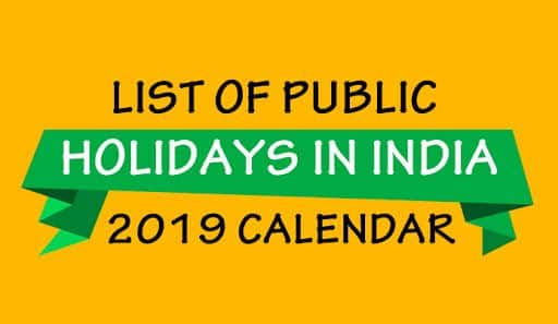 List of Holidays 2019