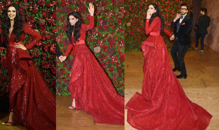 Deepika Padukone Wears a Deep Red Zuhair Murad Gown at Her ...