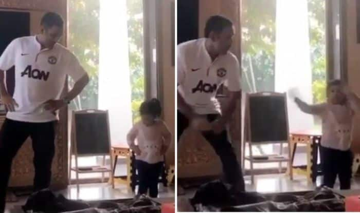 MS Dhoni with daughter Ziva