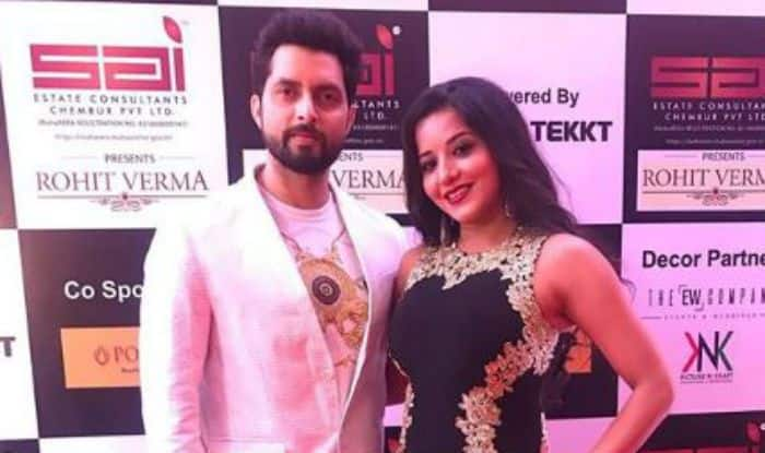 Bhojpuri Bomb And Nazar Fame Monalisa Looks Uber Hot in Black-Golden Gown as She Strikes a Pose With Vikrant Singh Rajput – See Pictures