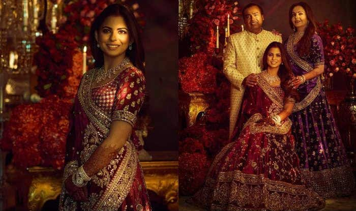 Isha Ambani, Nita Ambani And Mukesh Ambani Wear Sabyasachi Outfits at Reception Party For Reliance Family; See Pictures