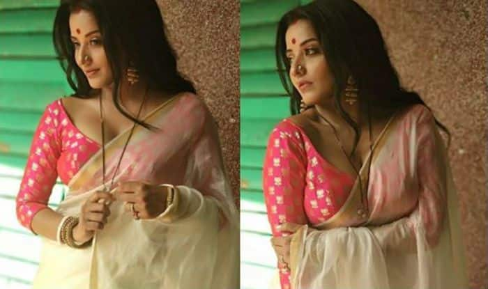 Bhojpuri Bomb And Nazar Fame Monalisa is Showing Her Sexy And Wild Side in Hot Pink And White Saree, See Sensuous Pics Here