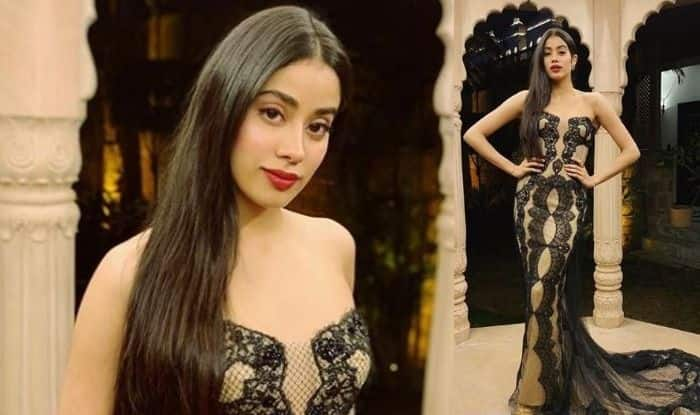 Janhvi Kapoor Looks Stunning in Beige-Black Off-Shoulder Gown by Reem Acra at Isha Ambani – Anand Piramal's Pre – Wedding Ceremony, See Pictures