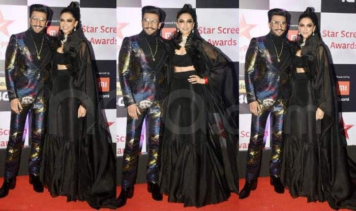 Deepika Padukone with Ranveer Singh at the red carpet of Star Screen Awards 2018. Photo Courtesy: Yogen Shah/ India.com