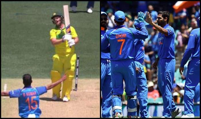Bhuvneshwar Kumar celebrates Aaron Finch wicket against Australia at Adelaide_ICC