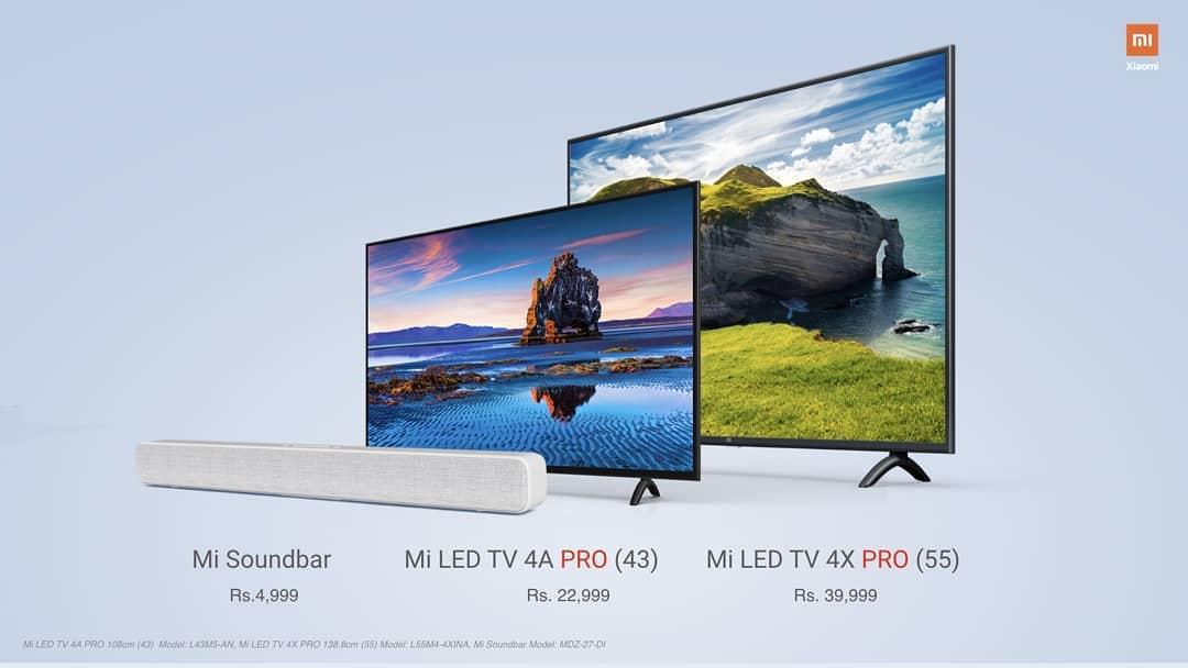 Xiaomi Launches Mi LED TV 4X Pro, Mi TV4APro And Mi Soundbar in India