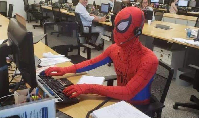 Banker Dresses up as Spider-Man