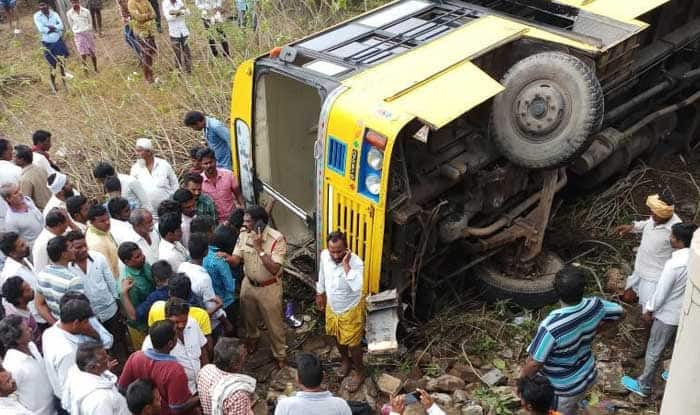 Andhra Pradesh: School Bus Carrying 50 Students Fall Into Culvert in Guntur; 15 Children Injured, 2 Critical