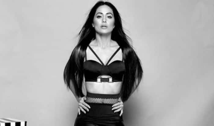 Television Sizzler Hina Khan Looks Scorching Hot in Black Separates as She Flaunts Her Washboard Abs in Monochrome Picture
