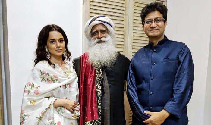 Kangana Ranaut with Sadhguru and Prasoon Joshi