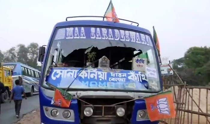 West Bengal: Vehicles Parked Near Amit Shah's Rally Venue in East Midnapore Vandalised; BJP Blames TMC, Warns Mamata