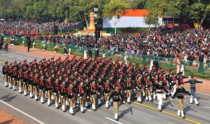 The NCC Girls Marching Continent passes through the Rajpath, at the 70th Republic Day Celebrations, in New Delhi