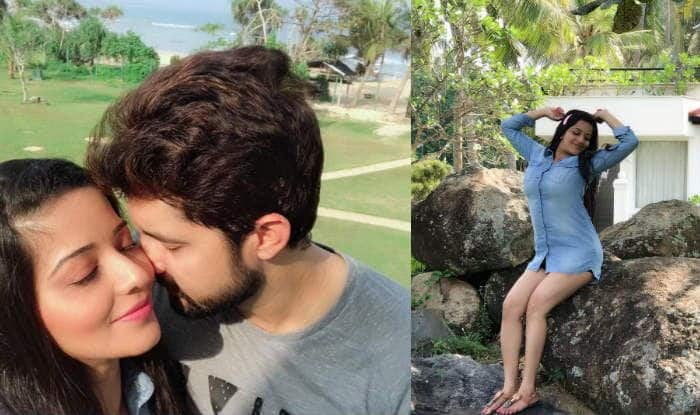 Bhojpuri Bombshell And Nazar Fame Monalisa Wears Denim Shirt While Posing With Hubby Vikrant Singh Rajpoot in Sri Lanka-See Photo