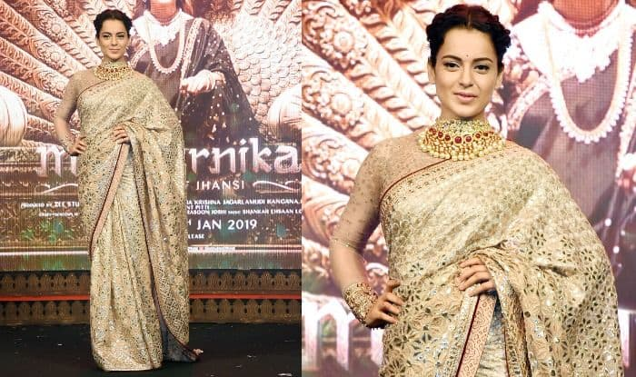 Manikarnika The Queen of Jhansi Song Launch: Kangana Ranaut Looks Royal in Embellished Golden Saree And Gold Jewellery, See Pictures
