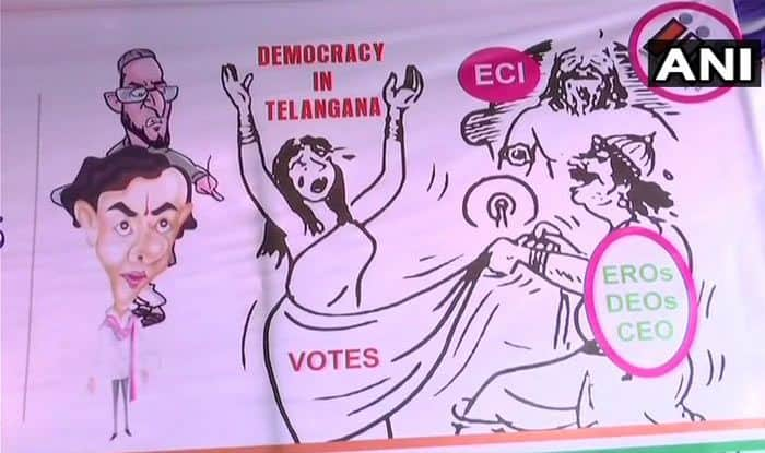 Telangana: Congress Puts up 'Draupadi Vastraharan' Poster to Protest Against Election Commission, Owaisi Says 'Beyond Limit of Decency'
