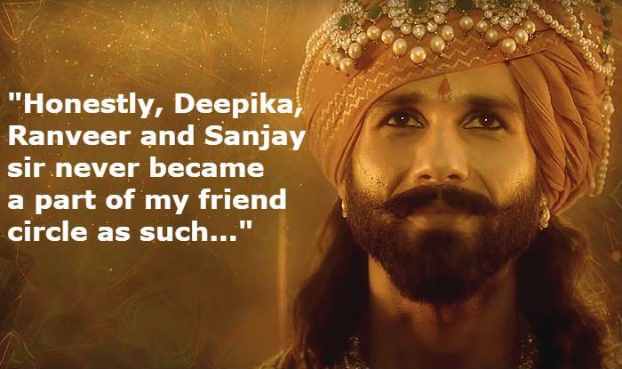 Shahid Kapoor Talks About Having 'No Connection' With Ranveer Singh, Deepika Padukone And Sanjay Leela Bhansali