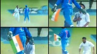 India vs New Zealand 3rd T20I: MS Dhoni Acquires God-Like Status After Fan Carrying National Flag Halts Match to Touch His Feet in Hamilton | WATCH VIDEO