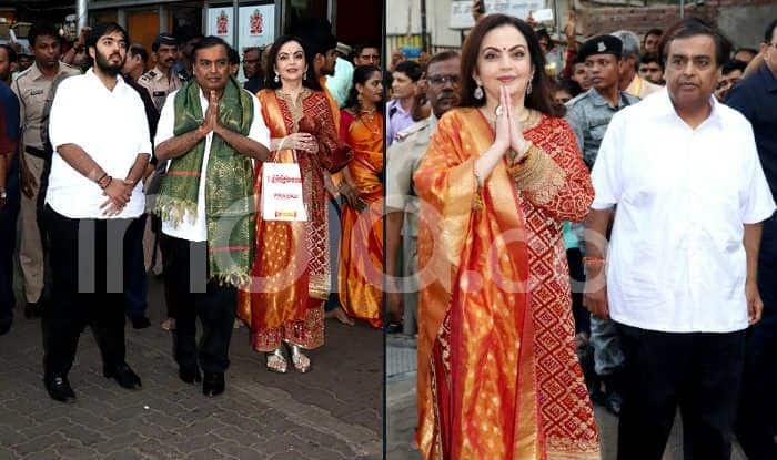 Mukesh Ambani-Nita Ambani Visit Siddhivinayak Temple to Offer Wedding Card of Son Akash Ambani And Shloka Mehta