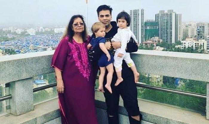 Karan Johar with mother and twins