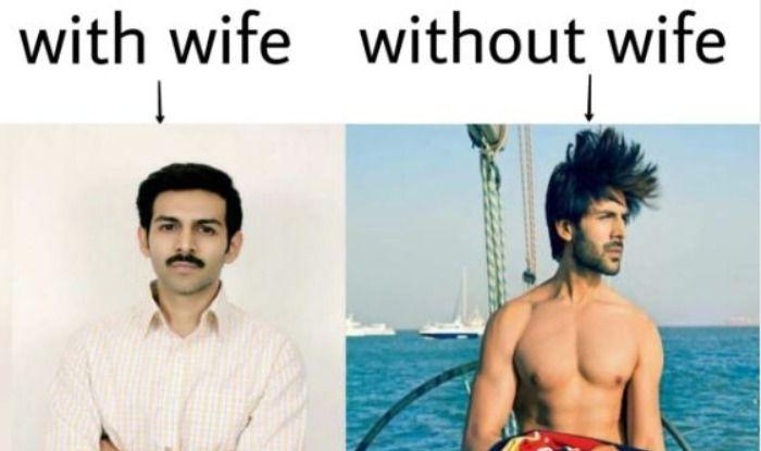 Memes on Kartik Aryan's look from Pati Patni Aur Woh