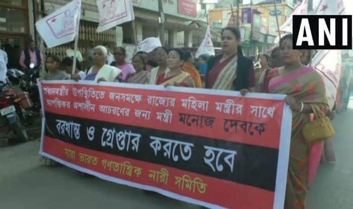 Tripura: CPM Women's Wing, AIDWA, Holds Protest in Agartala Over Minister Manoj Kanti Deb Touching Woman Colleague Inappropriately