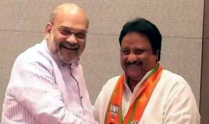 TRS leader AP Jithender Reddy with BJP president Amit Shah