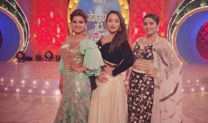 Amrapali Dubey Rani Chatterjee on the sets of Memsaab Number 1