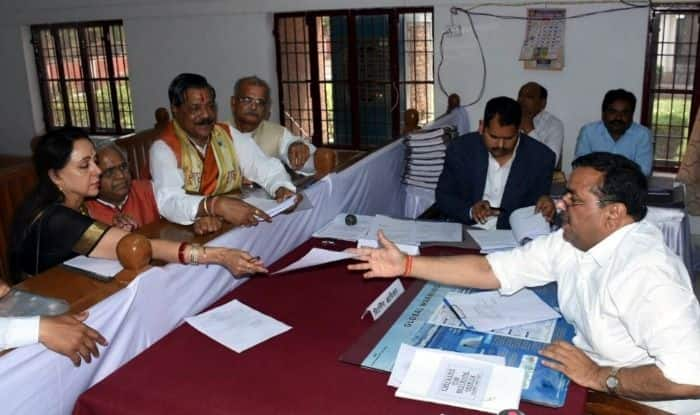BJP leader Hema Malini filing nomination papers in Mathura