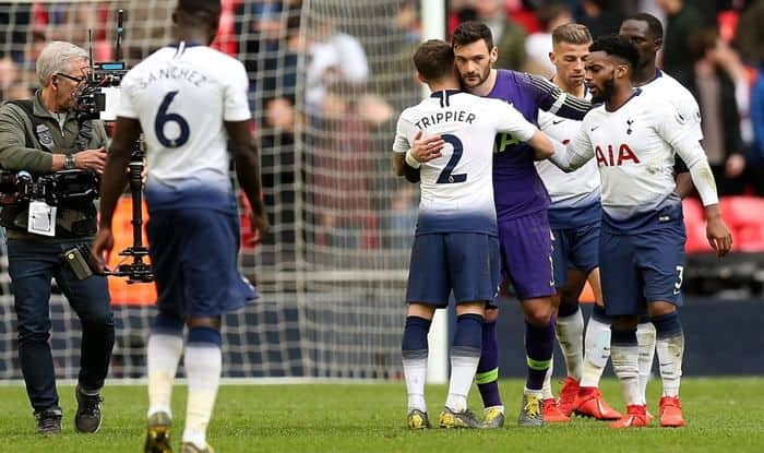 Hugo Lloris after producing match-winning save against Arsenal_picture credits Tottenham Hotspurs Twitter