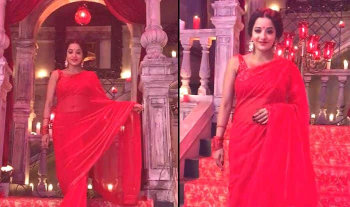 Bhojpuri Actress Monalisa Gives Sexy Vibes Dressed up in a Hot Red Saree – Watch