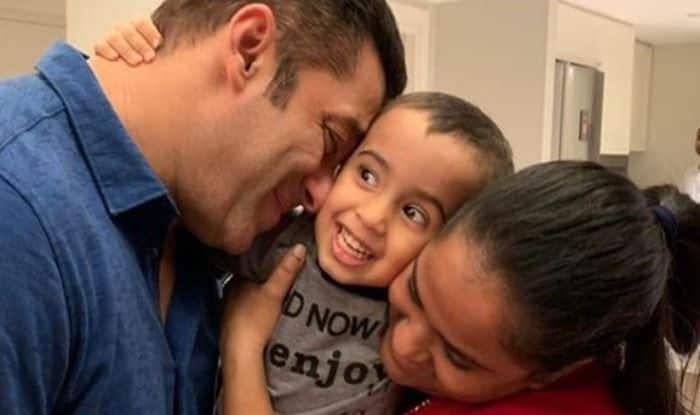 Salman Khan with nephew Ahil and sister Arpita Khan