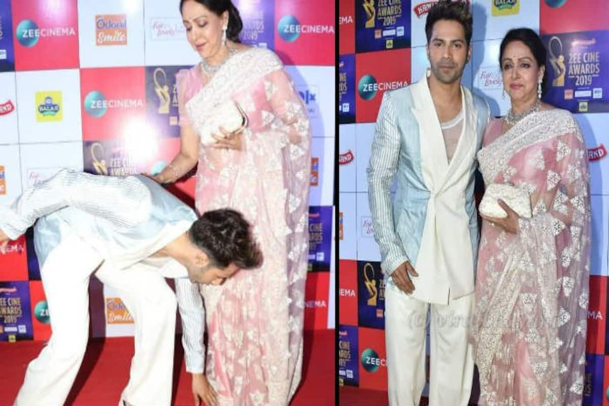 Zee Cine Awards 2019 Varun Dhawan Touches Hema Malini S Feet At Red Carpet And Gives One Of The Best Moments From The Show India Com