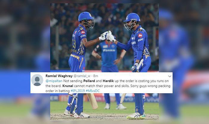 Hardik Pandya Krunal Pandya IPL 2019 DC v MI