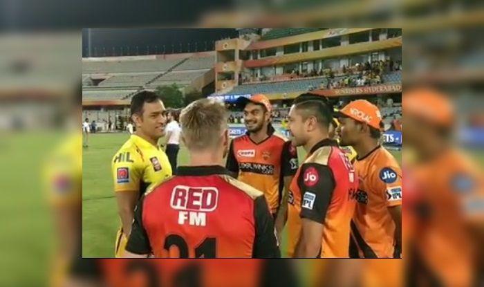 MS Dhoni, Vijay Shankar, David Warner, Rashid Khan SRH v CSK IPL 2019