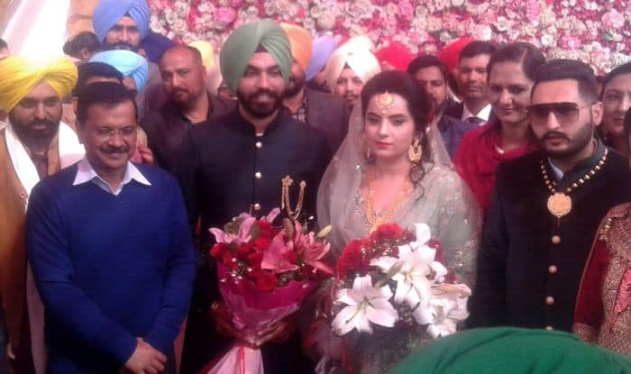 Arvind Kejriwal at wedding ceremony of Baljinder Kaur in Amritsar