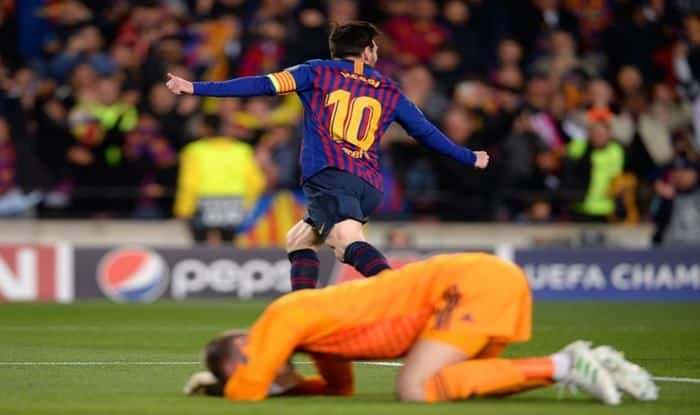 Barcelona's Lionel Messi scores a brace against manchester United in the UCL quarterfinals_picture Champions League Official Twitter handle