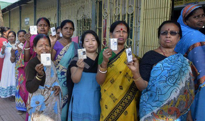 Voters waiting in line in Cooch Behar