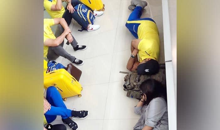 Dhoni and wife Sakshi sleeps on the floor of Chennai Airport_picture credits-MS Dhoni Instagram
