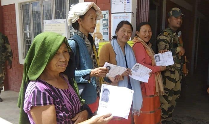 People at polling booth in Manipur