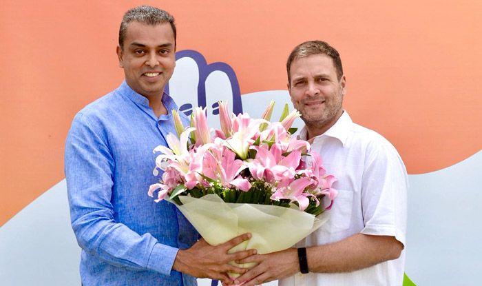 Milind Deora with Congress president Rahul Gandhi