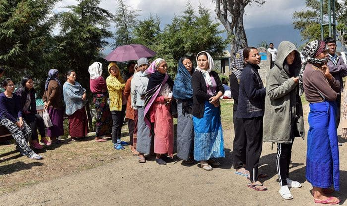 Voters at a polling booth in Nagaland