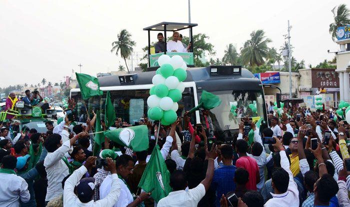 Naveen Patnaik during a roadshow in Odisha