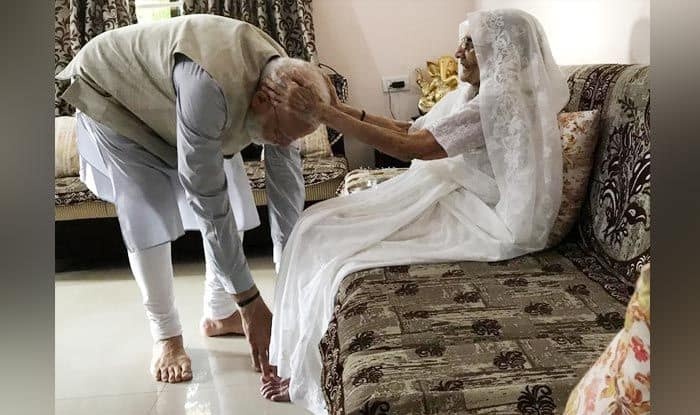 PM Modi with his mother