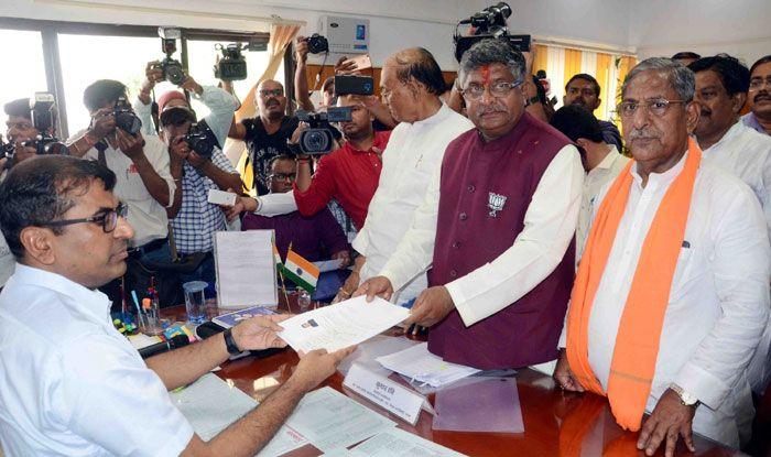 Union Minister Ravi Shankar Prasad filing nomination