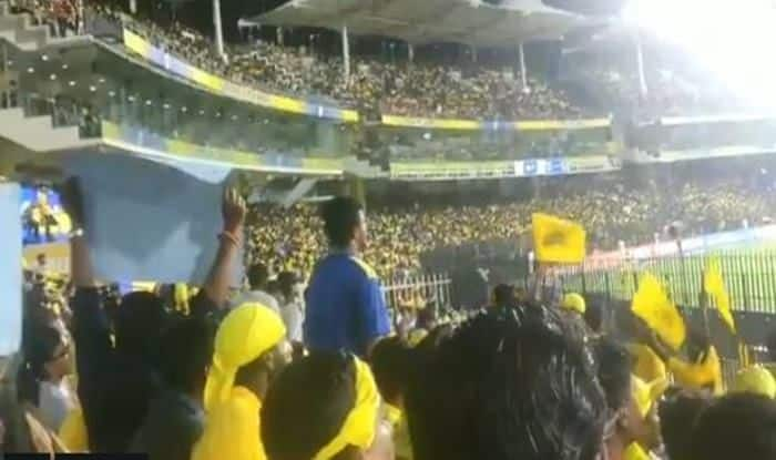 Sachin Tendulkar chants by Chennai fans at the Chepauk Stadium